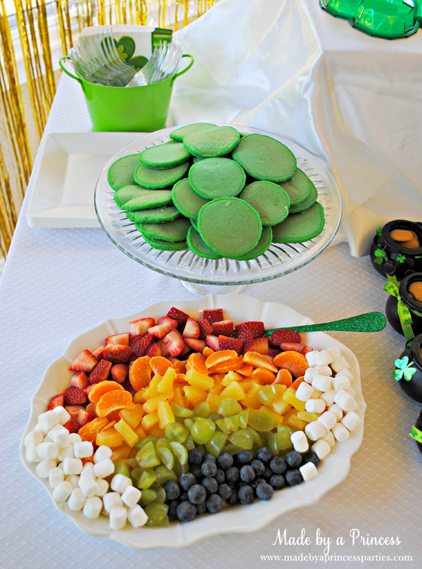 Kids St Patricks Day Party Ideas mini green pancakes and rainbow fruit