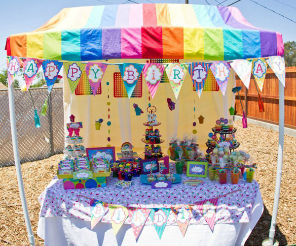 How to Make a PVC Canopy Rainbow themed party