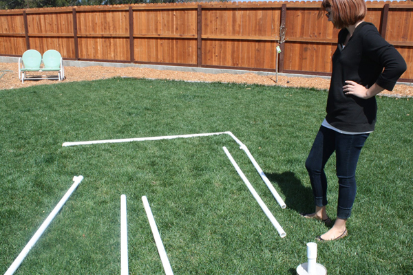How to Make a PVC Canopy lay pieces out on the ground to keep track of where they go