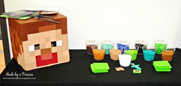 Ultimate Minecraft Birthday Party Perler bead station for kids to create their own character #minecraft #minecraftparty