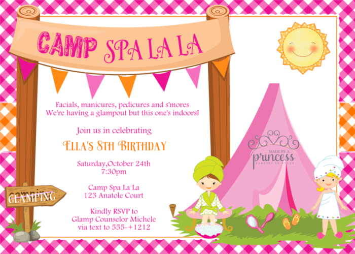 camp spa la la invite
