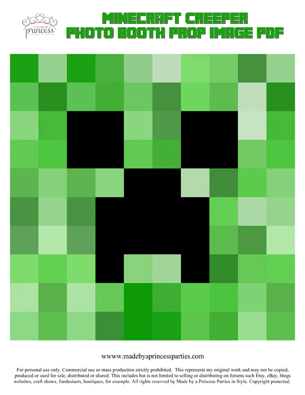 Make Your Own Minecraft Photo Booth Props Creeper PDF