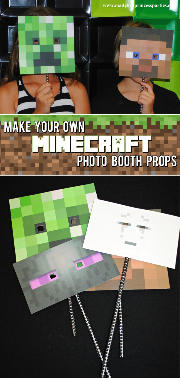 Make Your Own Minecraft Photo Booth Props with just a few supplies