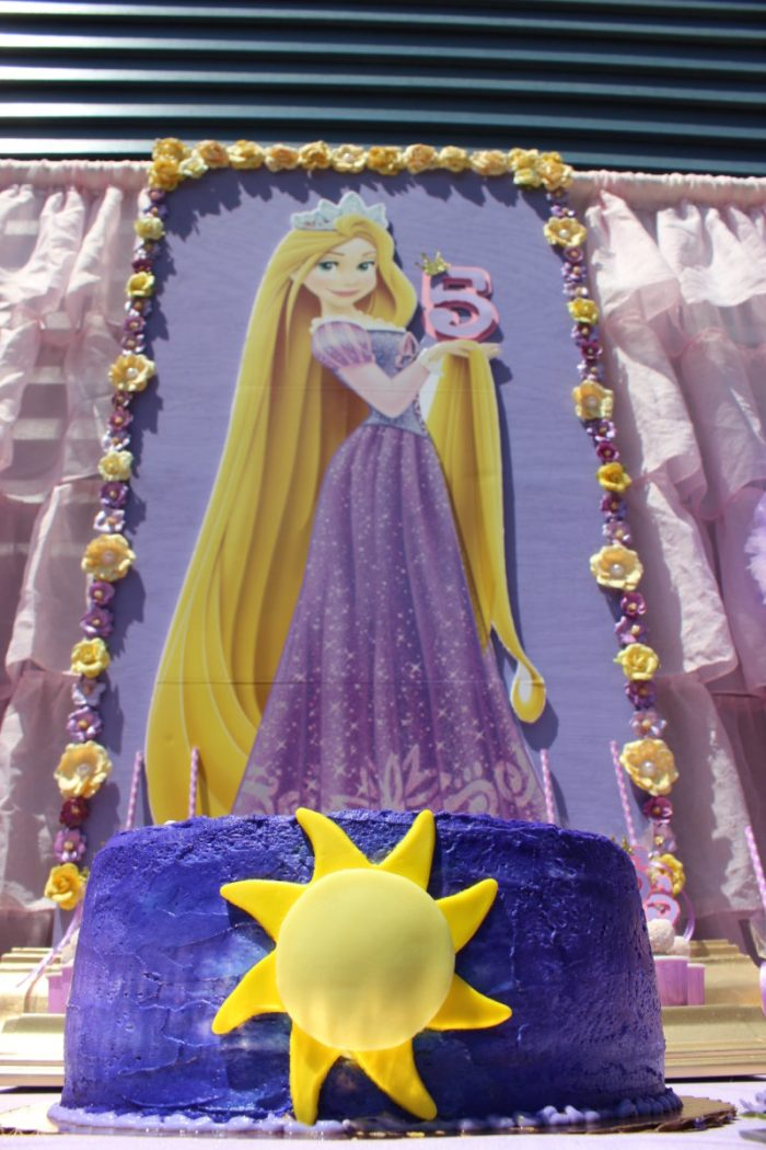best day ever rapunzel party by tabletop treats cake and backdrop