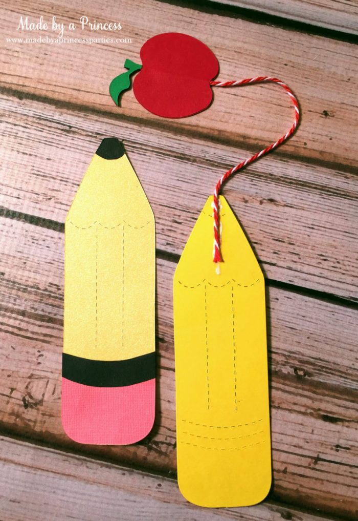 sizzix pencil bookmark glue apple to pencil