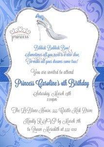 Cinderella slipper invitation