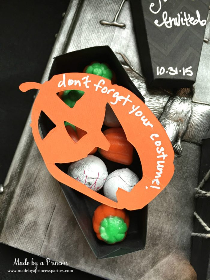 Spooky Halloween Coffin Invitations filled with candy 2