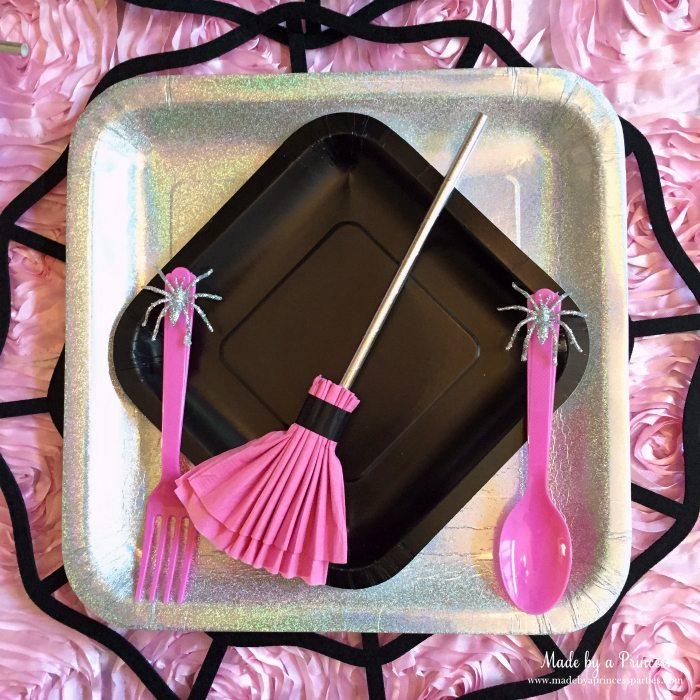 witch tea party broom napkin