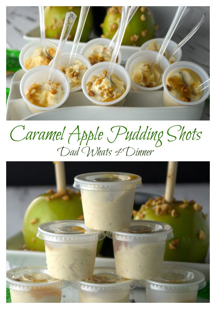 caramel apple pudding shots dad whats 4 dinner