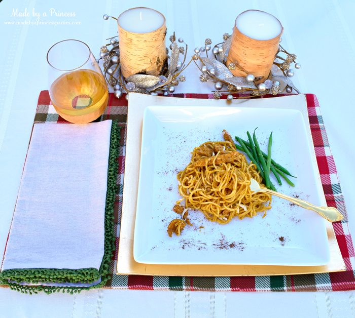 creamy pumpkin chicken pasta place setting