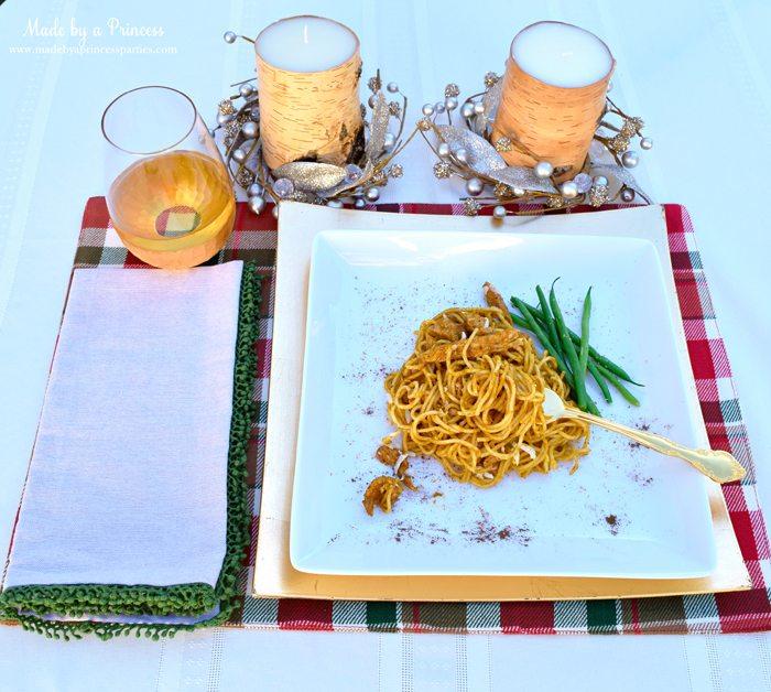 creamy pumpkin chicken pasta place setting
