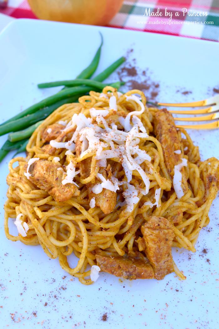 creamy pumpkin chicken pasta plated