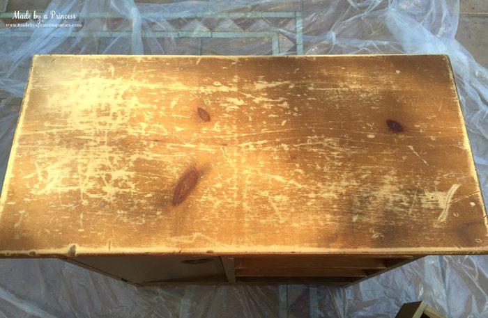 antique cabinet pink pearl makeover sanded top