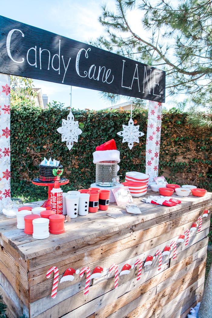 candy cane lane christmas party cocoa bar