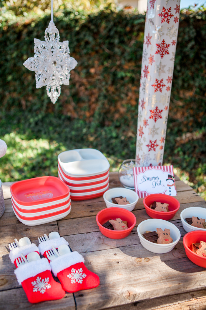 candy cane lane christmas party smores kit with reindeer peeps