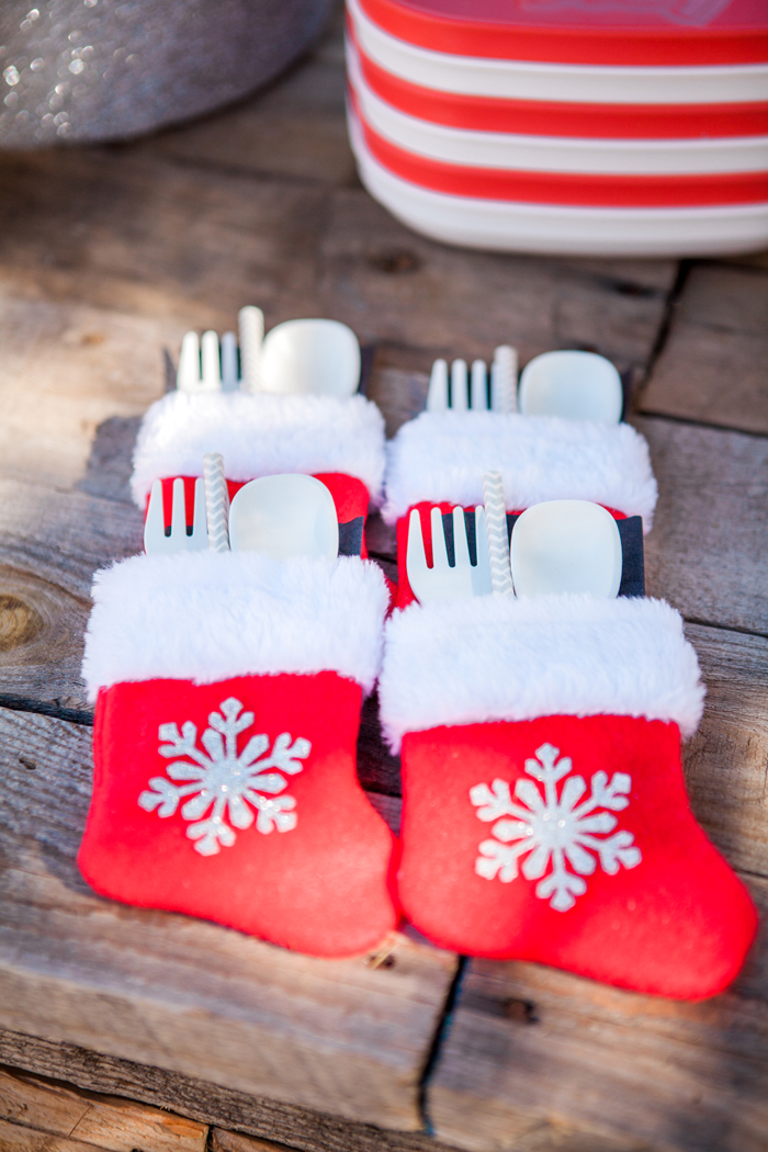 candy cane lane christmas party stocking utensils