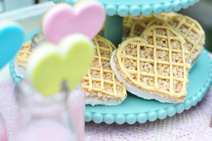 Valentines Day Garden Party heart rice krispie treats
