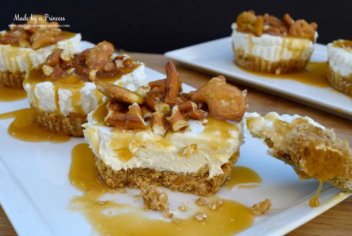 easy creamy pretzel crust no bake cheesecake dripping with caramel 2