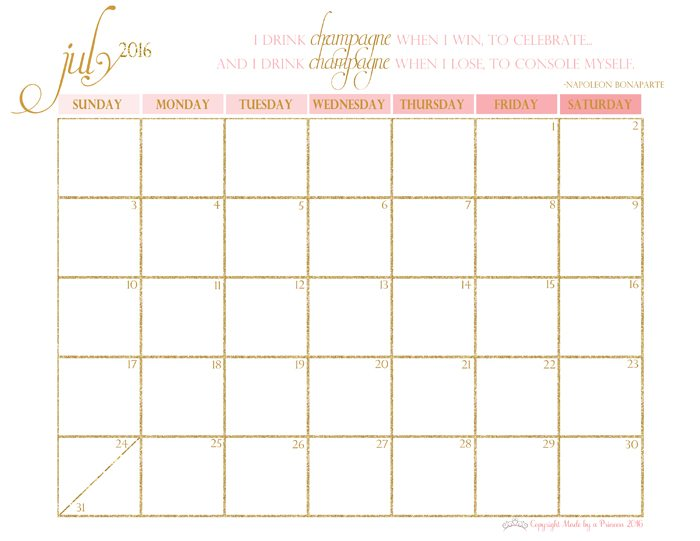 Free 2016 Printable Calendar - Made By A Princess