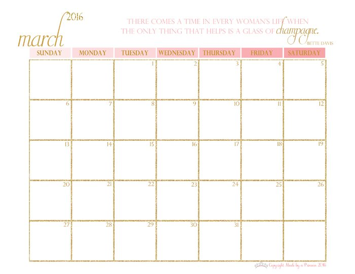made by a princess free printable calendar 2016 march