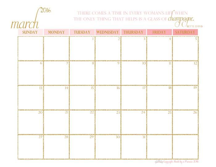 made by a princess free printable calendar 2016 march
