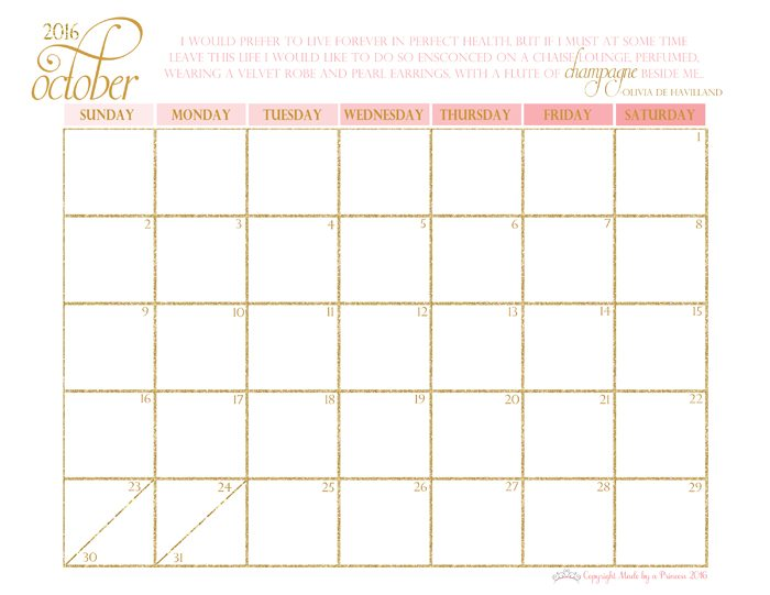 made by a princess free printable calendar 2016 october