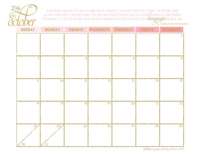 made by a princess free printable calendar 2016 october