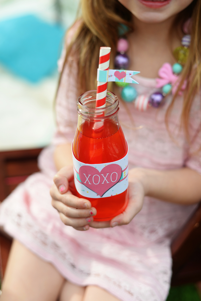 Creative Kids Valentine Party Ideas drink with flag