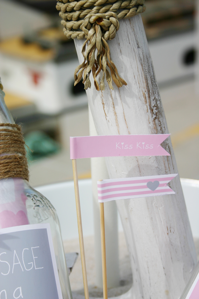 message in a bottle valentines party flags