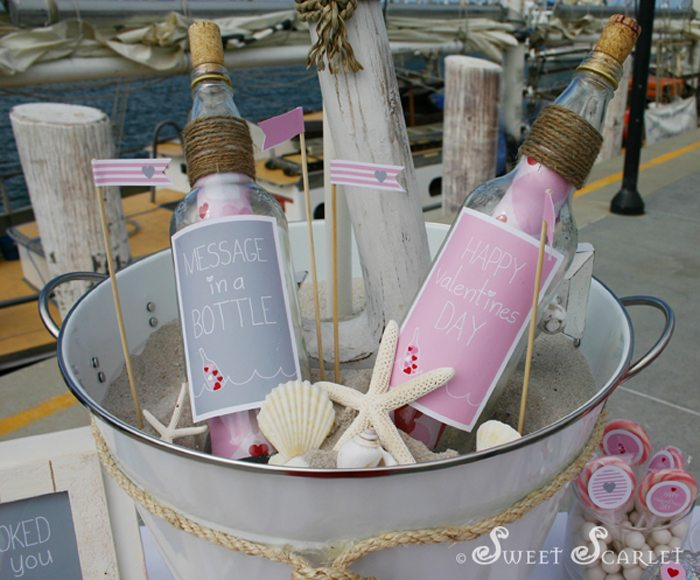 message in a bottle valentines party notes in bottles bucket