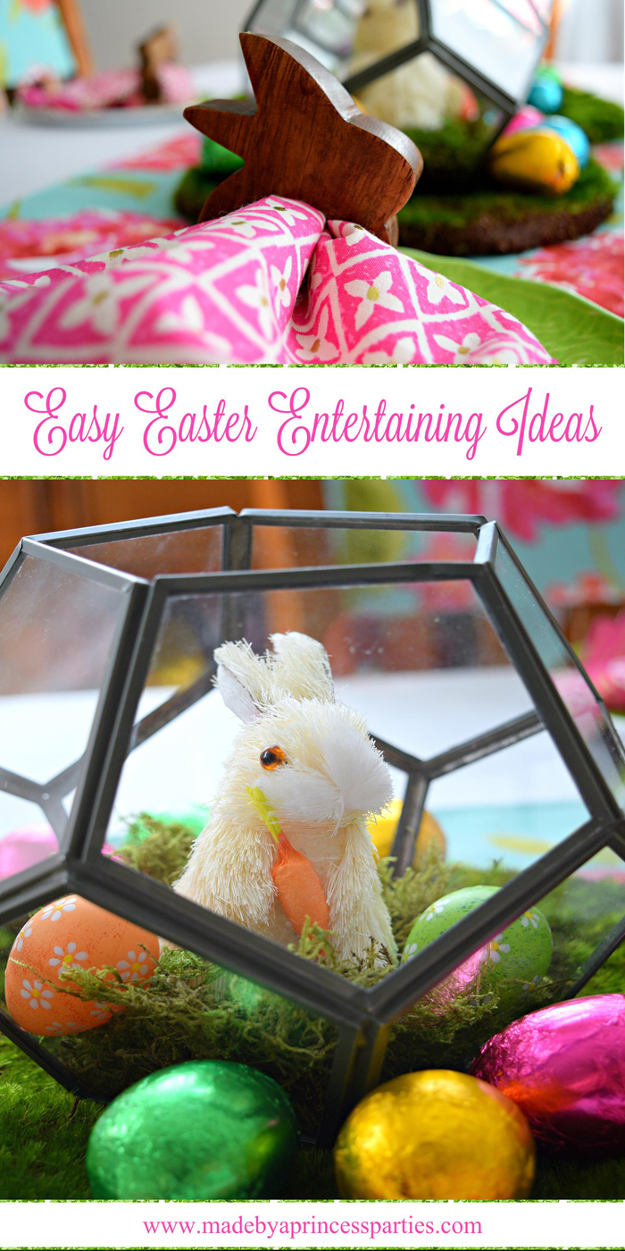 Easy Easter Entertaining Ideas using terrariums Easter eggs and moss
