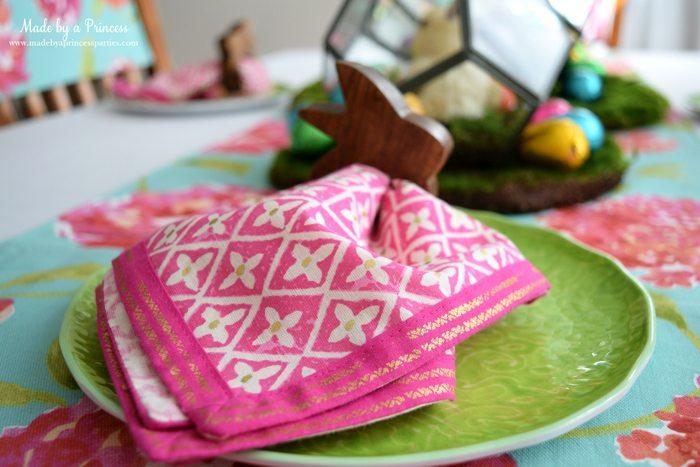 Easy Easter Entertaining Ideas foil geometric napkin