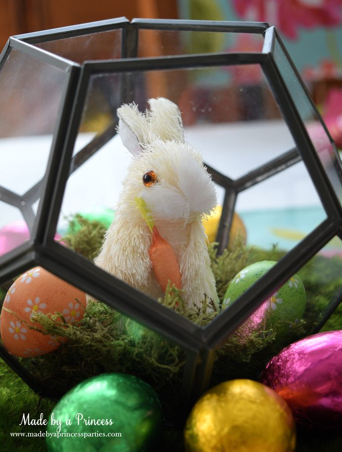 Easy Easter Entertaining Ideas white bunny in terrarium