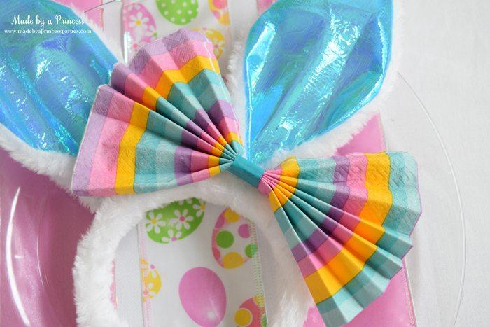 budget friendly easter ideas napkin bow for bunny ears 2