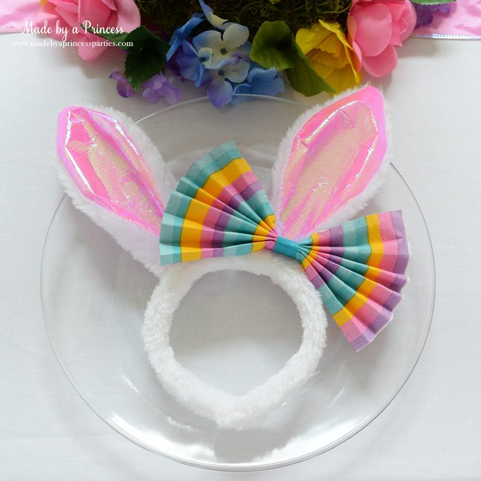 budget friendly easter ideas napkin bow for bunny ears