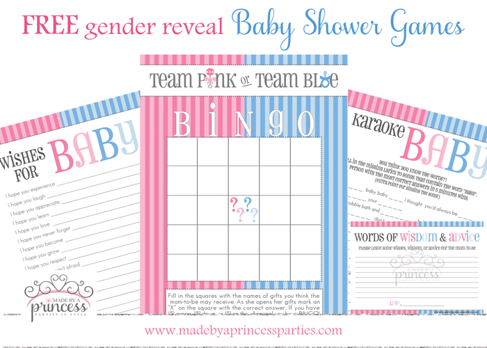 free gender reveal baby shower games from made by a princess