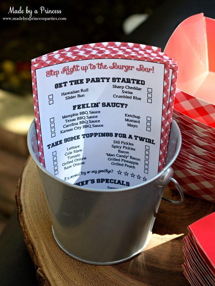 heinz build your own burger bar menu sheet
