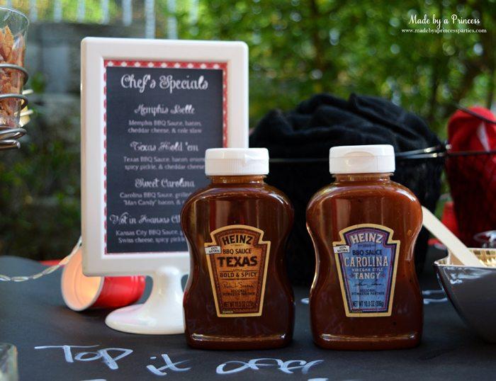 heinz build your own burger bar texas and carolina bbq sauces