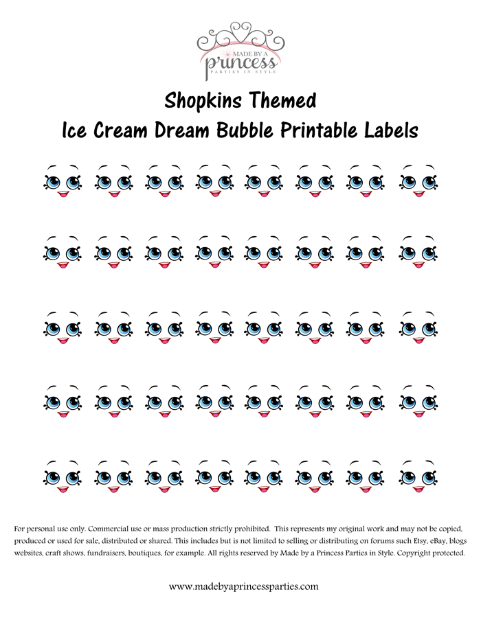Shopkins Inspired Ice Cream Dream Bubble Label FREE Printable Made by a Princess