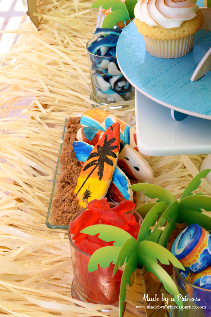 surfs up graduation party with evite macarons and gummies