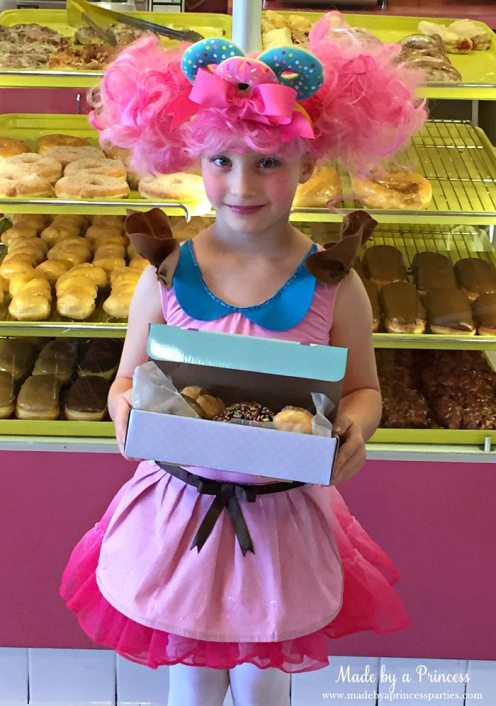 DIY Shopkins Shoppie Donatina Halloween Costume with a box of donuts