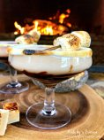 Dark Chocolate Toasted Marshmallow Martini by the fire with creme brulee fudge