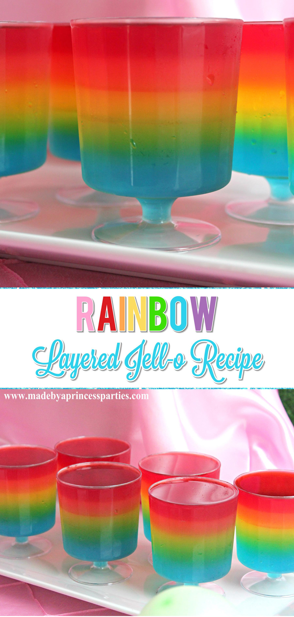 Unicorn Party Rainbow Jello Recipe #rainbowparty #trollsparty #unicornparty #partyfood #layeredjello #jellorecipe #rainbowjello @madebyaprincess