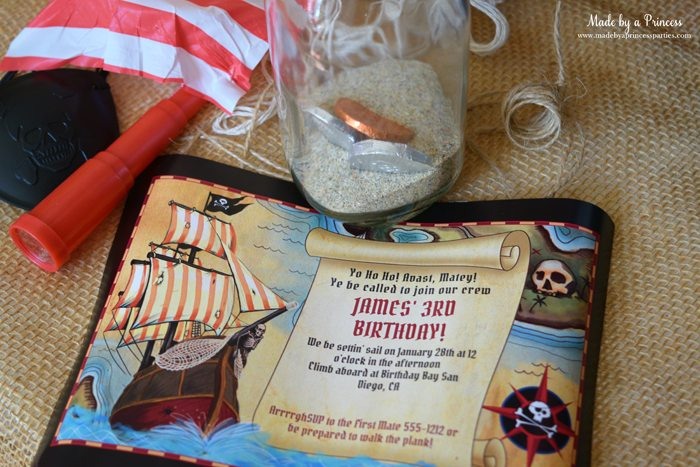Pirate Bottle Invitations Party Idea birthday invite from birthday in a box