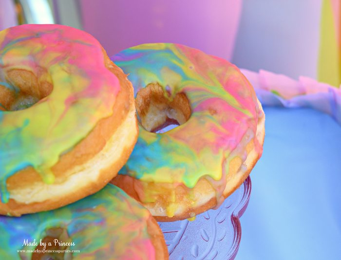Rainbow Donuts Party Food Tutorial beautful dripping marbled swirls of sugar glaze