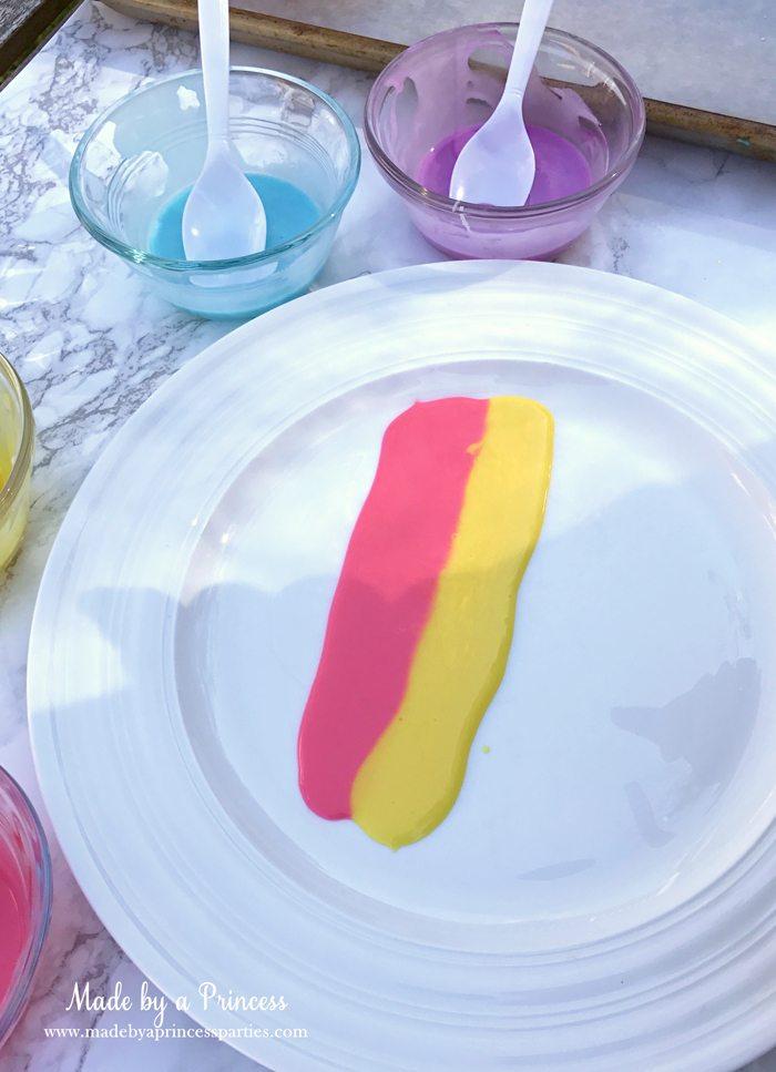 Rainbow Donuts Party Food Tutorial yellow sugar glaze