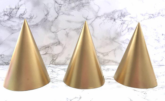unicorn princess party hat idea tutorial spray painted gold