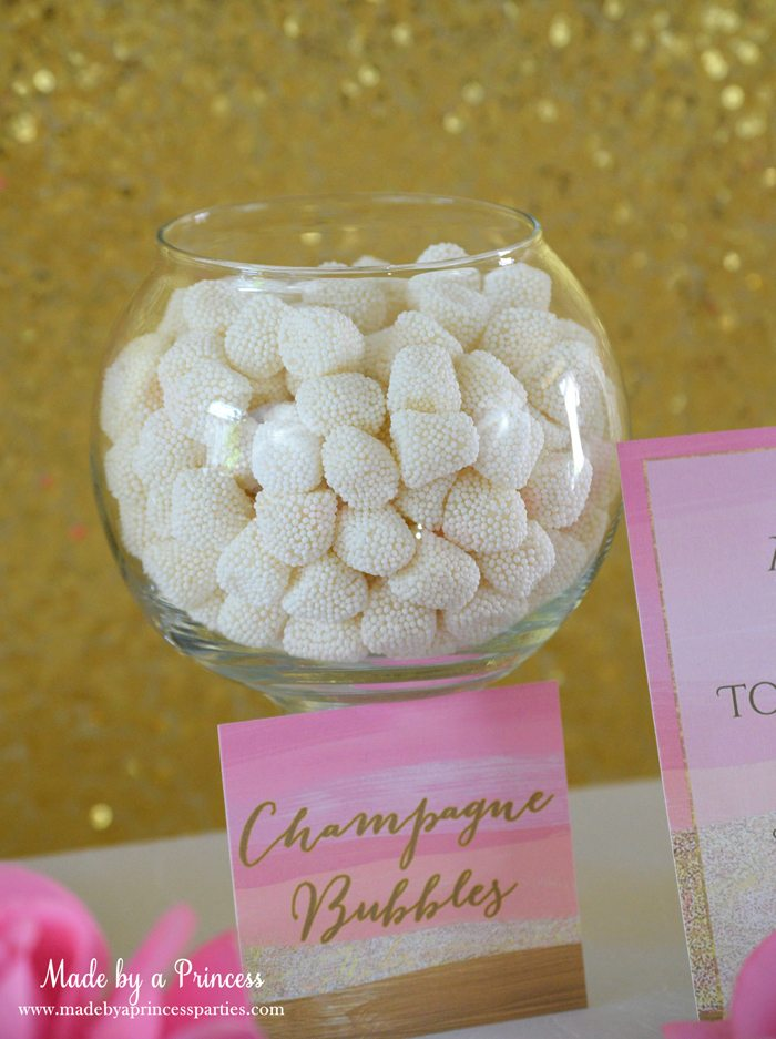 Pink Gold Party Candy Buffet Label JB champagne bubbles