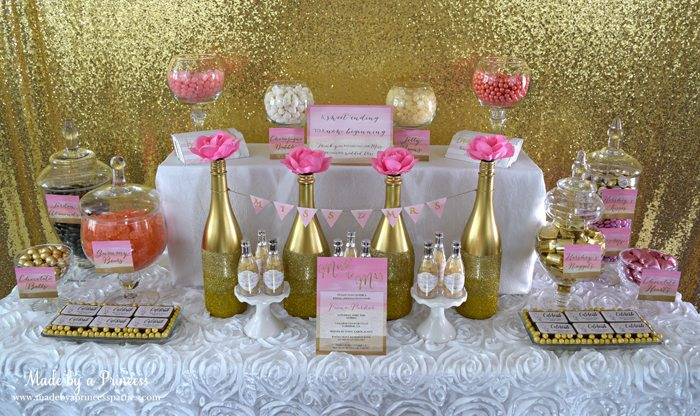 Pink Gold Party Candy Buffet Label table