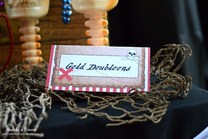 pirate party food free printables gold doubloons label